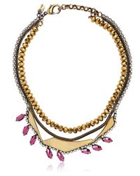 Iosselliani - Deco Gold and Pink Necklace - Lyst