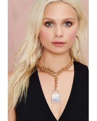 Nasty Gal - Metallic Lockdown Chain Necklace - Lyst