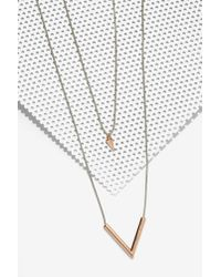 Nasty Gal | Metallic Bow Down Layered Necklace | Lyst