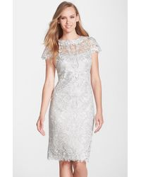 Tadashi Shoji | Metallic Illusion Yoke Lace Sheath Dress | Lyst