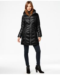 Calvin Klein | Black Chevron-quilted Down Coat | Lyst
