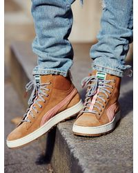 Free People | Brown Puma Womens Suede Winterized High Tops | Lyst