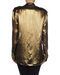 Balmain - Metallic Long Sleeve Shirt - Lyst