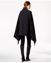 Woolrich | Gray Striped Buckled Cape Coat | Lyst
