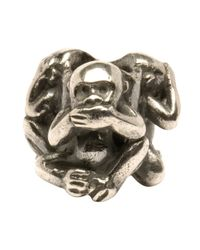 Trollbeads - Metallic 'three Monkeys' Silver Bead - Lyst