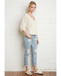Forever 21 | Natural Floral-embroidered Peasant Top | Lyst