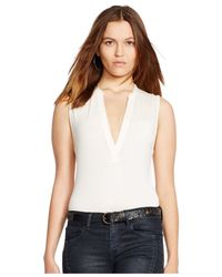 Polo Ralph Lauren | Natural Sleeveless Split-neck Top | Lyst