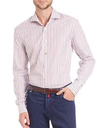 Kiton | Red Shadow Stripe Cotton Sportshirt for Men | Lyst