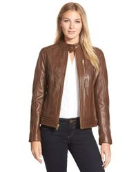 MICHAEL Michael Kors | Brown Zip Front Lambskin Leather Stand Collar Jacket | Lyst