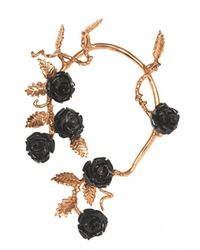 Bernard Delettrez | Metallic Mono-earring With Black Resin Roses | Lyst