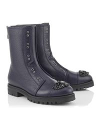 Jimmy Choo | Blue Hatcher Navy Grainy Calf Leather Combat Boots With Crystal Detail | Lyst