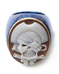 Amedeo - Blue Pirate Skull Cameo Ring - Lyst