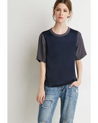 Forever 21 | Blue Contemporary Satin Colorblock Top | Lyst
