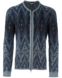 Giorgio Armani - Blue Intarsia Argyle Knit Cardigan - Lyst