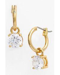 Anne Klein | Metallic Cubic Zirconia Drop Earrings | Lyst