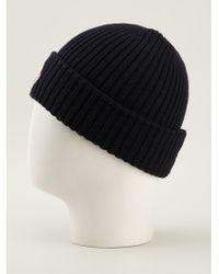 Moncler - Blue Ribbed Beanie for Men - Lyst