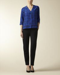 Jaeger - Blue Silk Painted Cube Tunic - Lyst