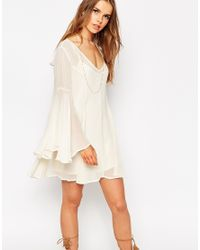 ASOS - Natural Boho Swing Dress With V Neck - Lyst