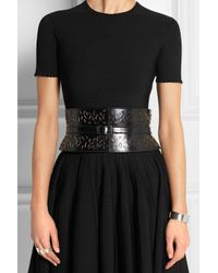 Alaïa - Black Ellipse Laser-Cut Leather Waist Belt - Lyst