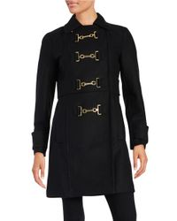 MICHAEL Michael Kors | Black Buckle-front Wool Coat | Lyst