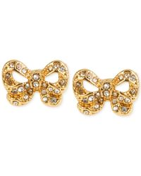 Betsey Johnson | Metallic Gold-tone Bow Stud Earrings | Lyst