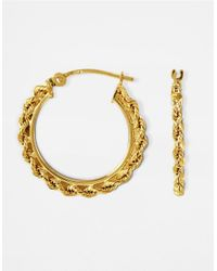 Lord & Taylor | Yellow 14k Gold Small Braided Hoop Earrings | Lyst