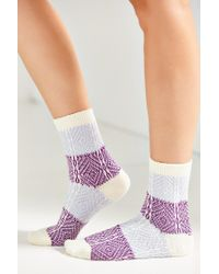 Urban Outfitters | Blue Colorblock Patterned Crew Sock | Lyst
