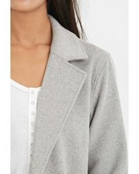 Forever 21 - Gray Longline Wool-blend Coat - Lyst