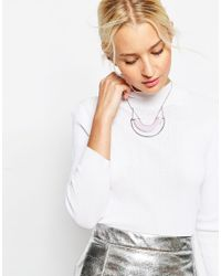 ASOS | Metallic Double Half Circle Lilac Pendant Necklace | Lyst