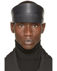 Rick Owens | Black Leather Visor for Men | Lyst