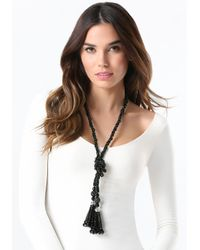 Bebe - Black Long Beaded Lariat Necklace - Lyst