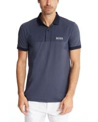 BOSS Green | Blue 'paddy Pro' | Modern Fit, Moisture Manager Polo Shirt for Men | Lyst
