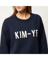 River Island - Blue Navy Kim-ye Print Sweatshirt - Lyst