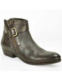 275 Central | Brown Leather Zipper Bootie | Lyst