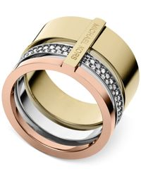Michael Kors | Pink Tri-tone Clear Stackable Ring | Lyst