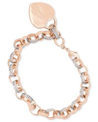 Macy's | Metallic Diamond Accent Heart Charm Bracelet In 18k Rose Gold Over Brass | Lyst