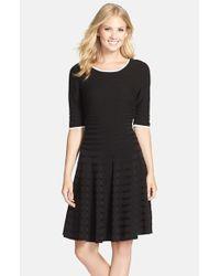 Ivanka Trump - Black Stretch Fit & Flare Sweater Dress - Lyst