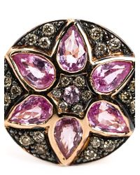 Ileana Makri | Purple Sapphire And Diamond Flower Ring | Lyst