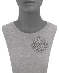 Oscar de la Renta - Metallic Pavé Flower Convertible Brooch & Pendant Necklace - Lyst