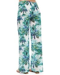 Pilyq - Blue Carter Palm-tree-print Coverup Pants - Lyst