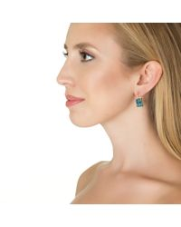 Emily & Ashley | Large Size Square Drop Earrings, Blue Topaz | Lyst