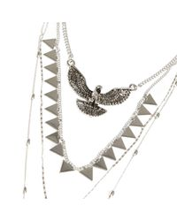 River Island | Metallic Silver Tone Layered Eagle Pendant Necklace | Lyst