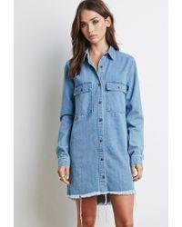 3f673891b43 Lyst - Forever 21 Frayed Denim Shirt Dress in Blue