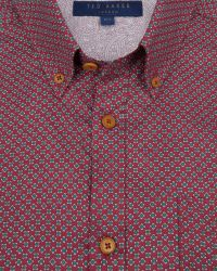 Ted Baker | Red Tight Lines Flower Print Shirt for Men | Lyst
