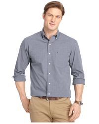 Izod - Blue Big And Tall End-on-end Long-sleeve Dress Shirt for Men - Lyst