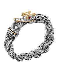 John Hardy - Metallic Naga Silver & 18K Gold Large Dragon Head Bracelet - Lyst