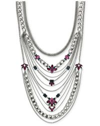 BCBGeneration | Rhodium-tone Multi Layer Purple Stone Drama Necklace | Lyst