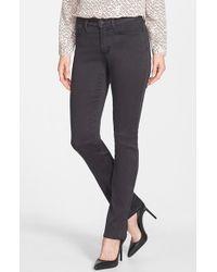 NYDJ - Gray 'Samantha' Colored Stretch Slim Straight Leg Jeans - Lyst