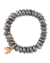 Sydney Evan - Metallic 8mm Faceted Labradorite Beaded Bracelet With 14k Gold/diamond Fortune Cookie Charm - Lyst