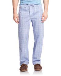 Derek Rose - Blue Plaid Cotton Pajama Pants for Men - Lyst